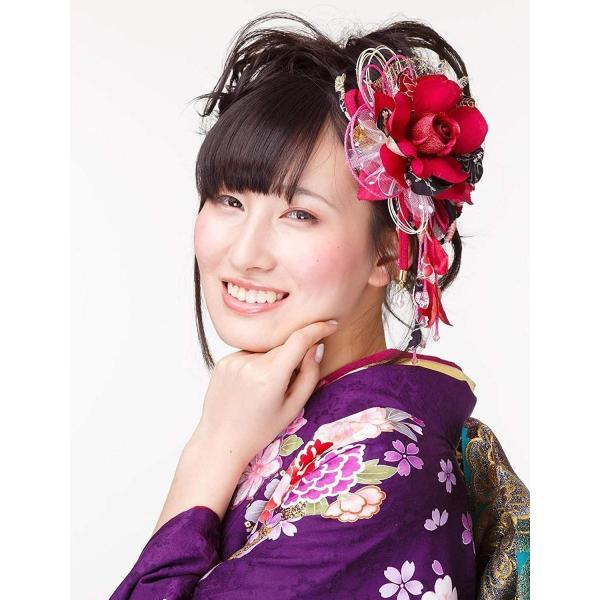 花髪飾り かんざし ワイン 成人式 振袖 卒業式 袴 着物 和装 簪 髪型