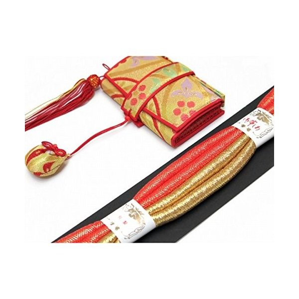 七五三 7歳 結び帯とはこせこセットのペアセット 合繊「金茶系、七宝華様紋」YPS435|benriithiban|03
