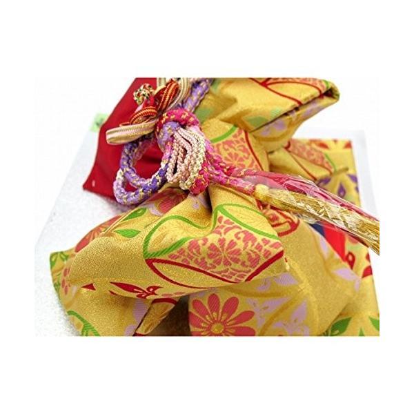 七五三 7歳 結び帯とはこせこセットのペアセット 合繊「金茶系、七宝華様紋」YPS435|benriithiban|05