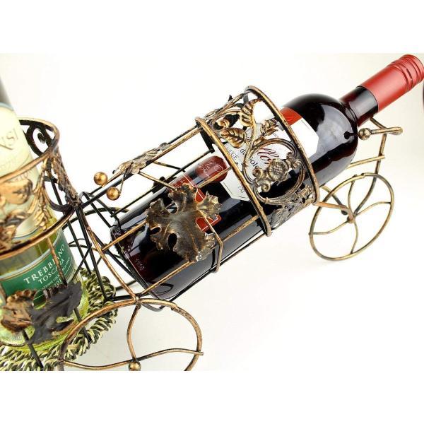 W8 アンティーク調 自転車型 ワインラック ワイングラス ホルダー ワイン シャンパン ボトル スタンド インテリア レトロ (ブロンズ)|benriithiban|02