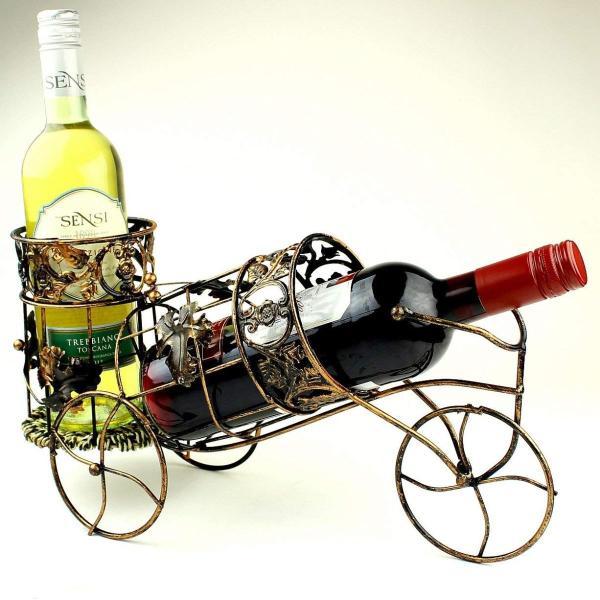 W8 アンティーク調 自転車型 ワインラック ワイングラス ホルダー ワイン シャンパン ボトル スタンド インテリア レトロ (ブロンズ)|benriithiban|04