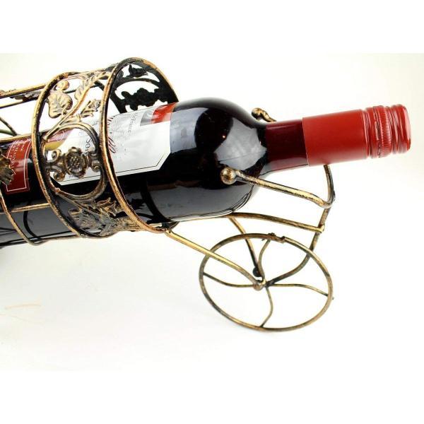 W8 アンティーク調 自転車型 ワインラック ワイングラス ホルダー ワイン シャンパン ボトル スタンド インテリア レトロ (ブロンズ)|benriithiban|05