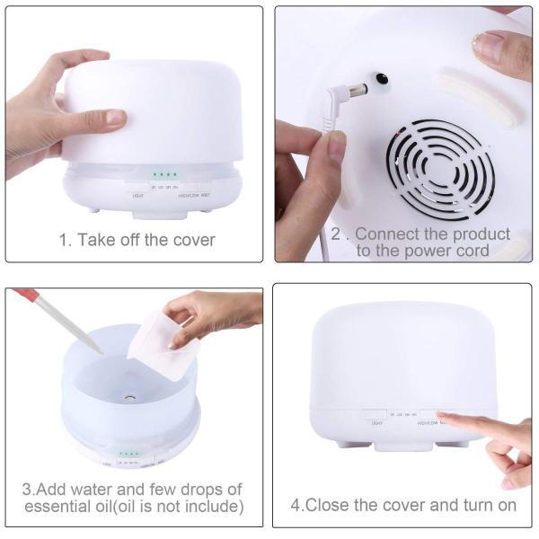 Ceenwesアロマディフューザー 500ML 加湿器 超音波式 アロマ加湿器 ランキンダ7色変色LEDライト ミュートデザイン 加湿器 空