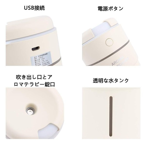 Sameiyi 加湿器 卓上 超音波式 アロマディフューザー 300ML USB加湿器? お手入れ簡単 空焚き防止 エコ ペットボトル 7色