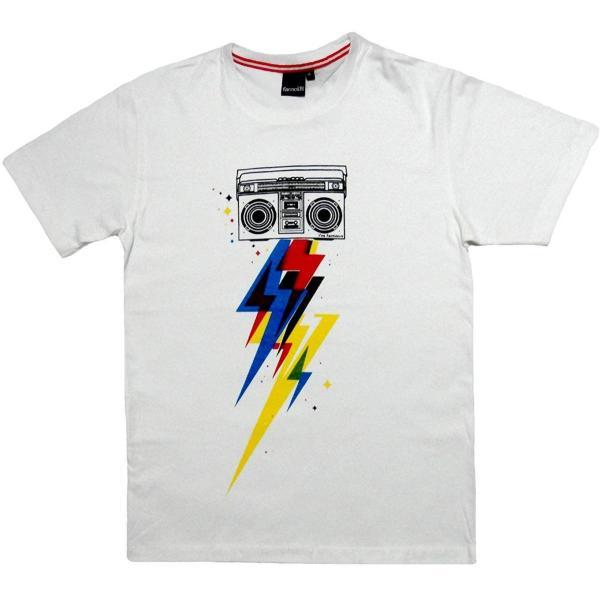 おもしろ ジョーク 半袖 Tシャツ 稲妻ラジカセ Boombox (Lサイズ)