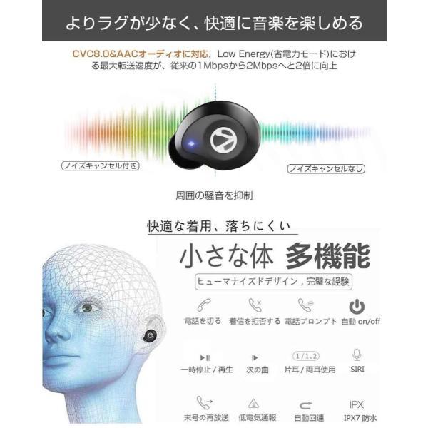 進化版 Bluetooth 5.0 IPX7完全防水Bluetooth イヤホン 完全 ワイヤレス イヤホン Moon House ブルート