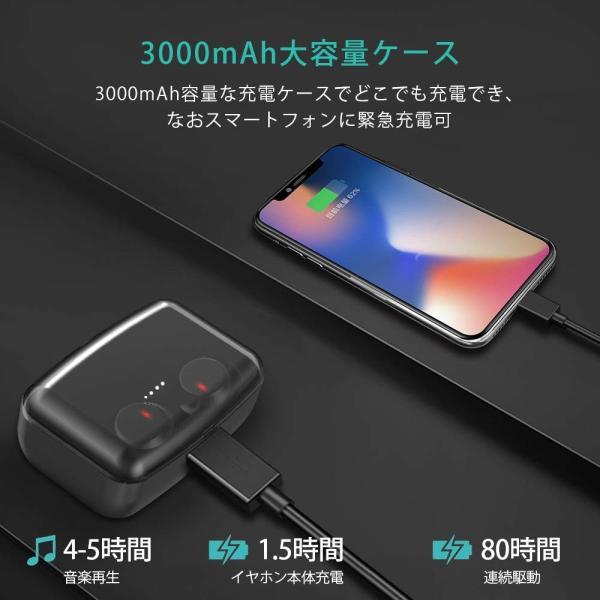 2019最新版 Bluetooth イヤホン Bluetooth5.0 IPX8防水NPET 完全ワイヤレス イヤホン 高音質 重低音 80 benriithiban 05