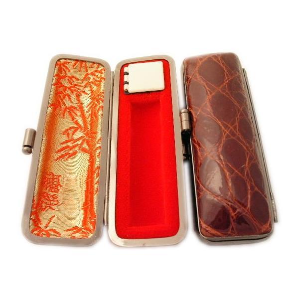 印鑑ケース はんこケース ワニ革ケース S つやあり 10.5mm〜12mm用 かっこいい 朱肉付き 10.5ミリ 12ミリ