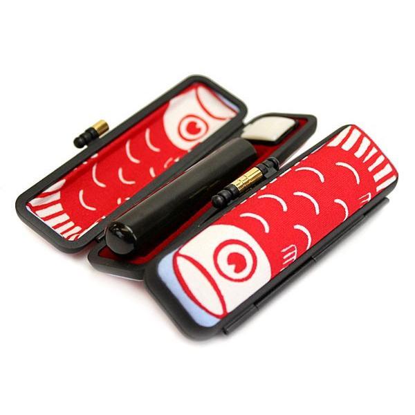 印鑑 はんこセット 黒水牛印鑑 12mm銀行印 認印 かわいい。鯉のぼり すっゴイはんこケース付き 赤 benrikobo 02