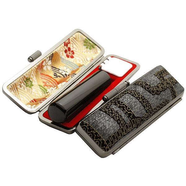 印鑑 はんこセット 黒水牛印鑑 12mm銀行印 認印 デザインケース付き 石畳柄 いぶし枠