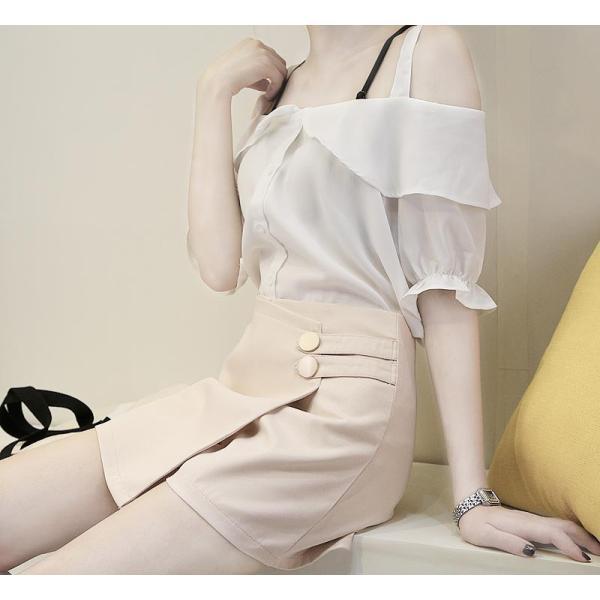 10月上旬入荷予定 レディース ダブルボタンデザイン ラップキュロットスカート キュロットパンツ ショート丈|bequemstore2|20
