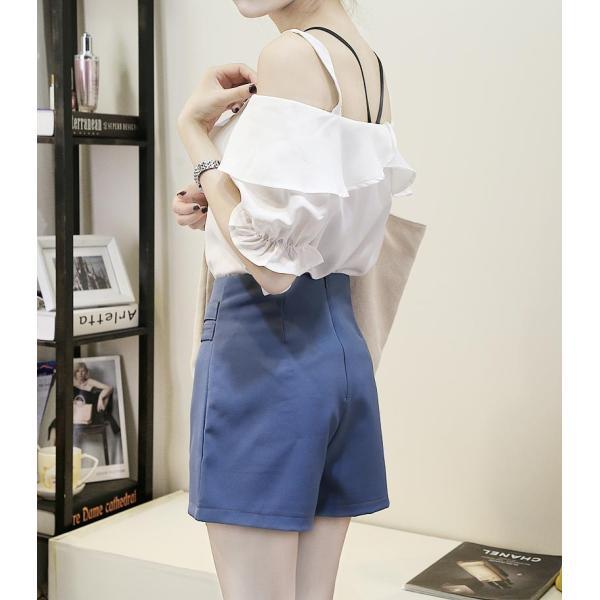 10月上旬入荷予定 レディース ダブルボタンデザイン ラップキュロットスカート キュロットパンツ ショート丈|bequemstore2|10
