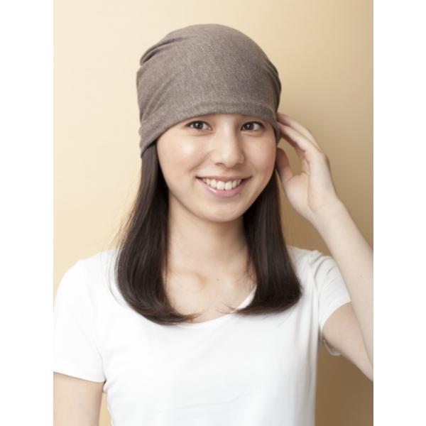 医療用 ミックスつけ毛付き室内用帽子ロング