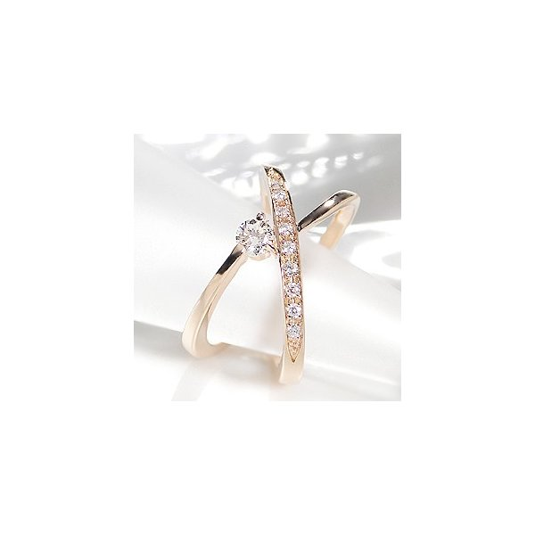 K18 PG ゴールド 指輪 リング ダイヤモンド ダイヤ クロス エタニティ 一粒 人気 0.3ct BRR-0005