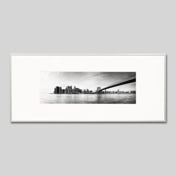 IGREBOW アイグレボウ インテリアフォト アルミフレーム Lサイズ モノクローム アメリカ ニューヨーク ブルックリンブリッジとマンハッタン