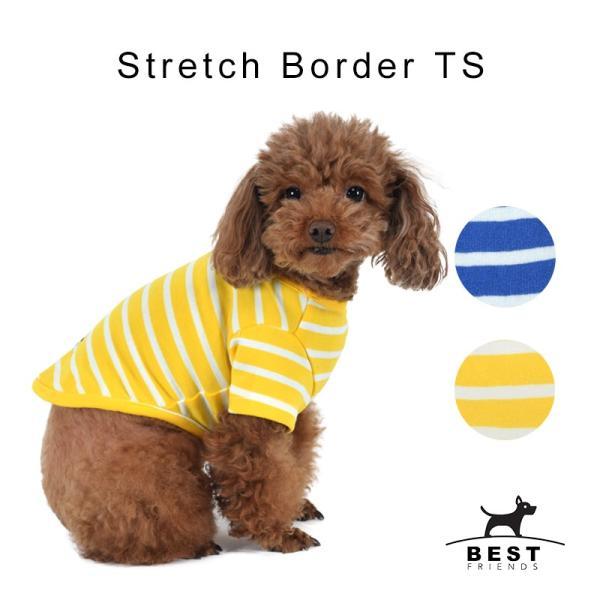 ストレッチボーダーTS      犬 服 犬の服 ドッグウェア Tシャツ ボーダー 薄手 コットン 綿 生地 伸縮 伸びる シンプル|best-friends