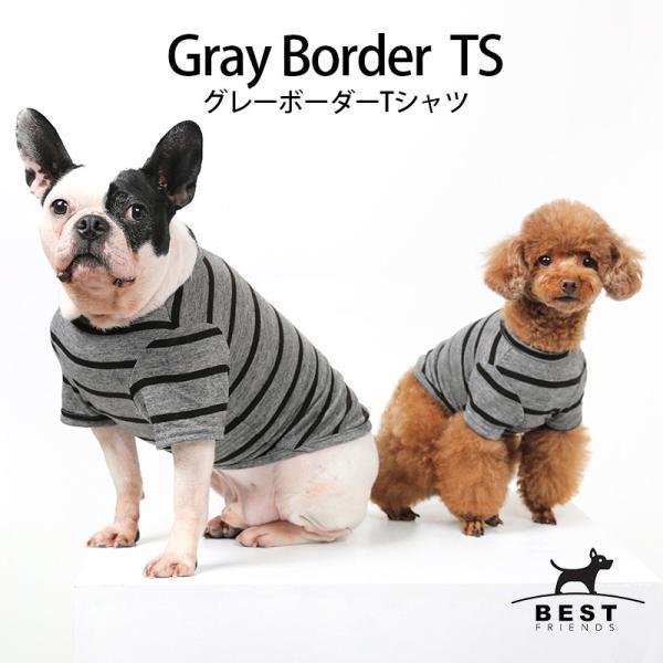 BF ボーダーグレーTシャツ       犬 服 犬の服 ドッグウェア Tシャツ シンプル ライン  薄手 生地 伸縮 伸びる コットン 綿100% ボーダー|best-friends