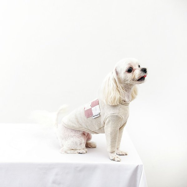 オートミールポケットパッチTS    ,XXL  犬 服 犬の服 ドッグウェア Tシャツ  秋 冬 おしゃれ かわいい おしゃれ キレイめ コットン 綿100% ポケット|best-friends|04