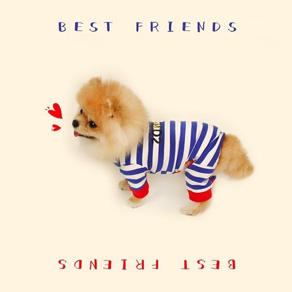 ロゴプリントボーダーロンパース   S,SM,M,L,XL,XXL 犬 服 犬の服 ドッグウェア 秋 冬 ボーダー カバーオール つなぎ 綿100% 伸縮性抜群|best-friends|11