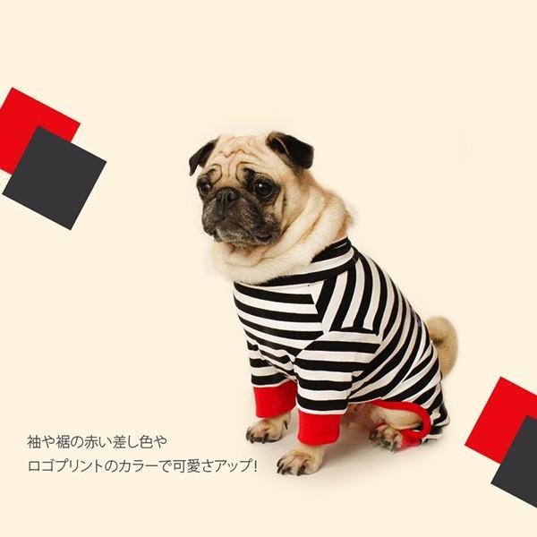 ロゴプリントボーダーロンパース   S,SM,M,L,XL,XXL 犬 服 犬の服 ドッグウェア 秋 冬 ボーダー カバーオール つなぎ 綿100% 伸縮性抜群|best-friends|05