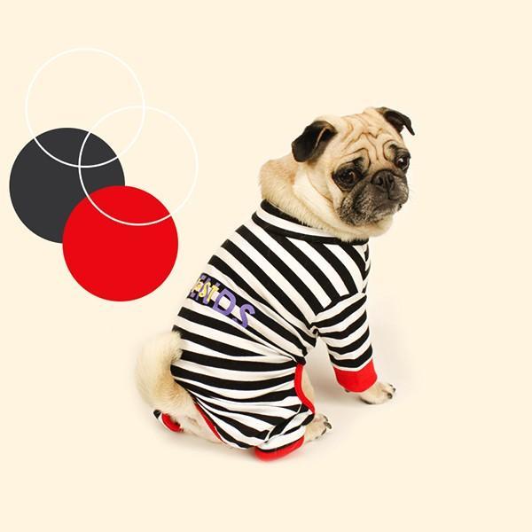 ロゴプリントボーダーロンパース   S,SM,M,L,XL,XXL 犬 服 犬の服 ドッグウェア 秋 冬 ボーダー カバーオール つなぎ 綿100% 伸縮性抜群|best-friends|07