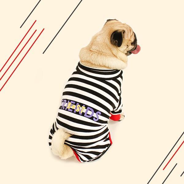 ロゴプリントボーダーロンパース   S,SM,M,L,XL,XXL 犬 服 犬の服 ドッグウェア 秋 冬 ボーダー カバーオール つなぎ 綿100% 伸縮性抜群|best-friends|08