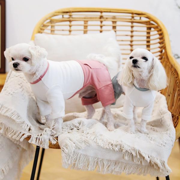 ツートーンポケットロンパース     犬 服 犬の服 ドッグウェア  ロンパース かわいい おしゃれ 秋 冬 ロールアップ 刺繍 パステル|best-friends|02