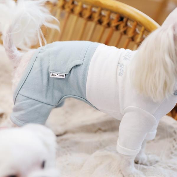ツートーンポケットロンパース     犬 服 犬の服 ドッグウェア  ロンパース かわいい おしゃれ 秋 冬 ロールアップ 刺繍 パステル|best-friends|04