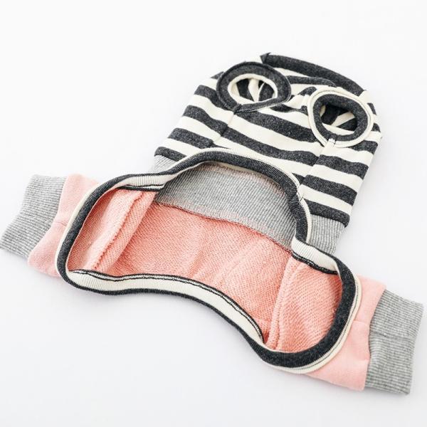 スリーブレスボーダーロンパース   ,XXL 犬 服 犬の服 ドッグウェア  ロンパース かわいい おしゃれ 秋 冬 ボーダー 伸縮 伸びる 刺繍 パステル|best-friends|20