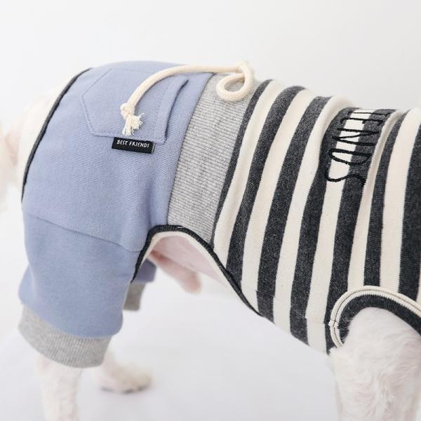 スリーブレスボーダーロンパース   ,XXL 犬 服 犬の服 ドッグウェア  ロンパース かわいい おしゃれ 秋 冬 ボーダー 伸縮 伸びる 刺繍 パステル|best-friends|07