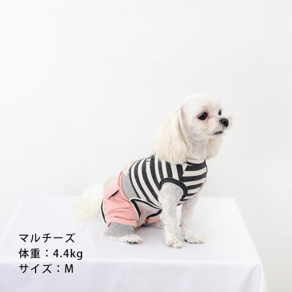 スリーブレスボーダーロンパース   ,XXL 犬 服 犬の服 ドッグウェア  ロンパース かわいい おしゃれ 秋 冬 ボーダー 伸縮 伸びる 刺繍 パステル|best-friends|08