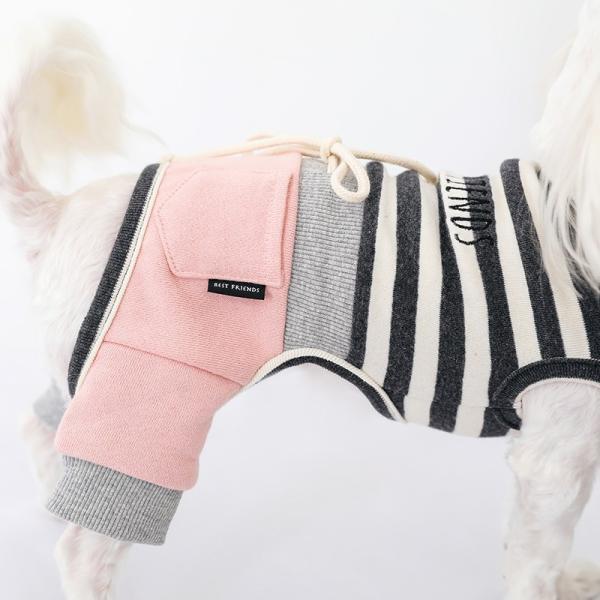 スリーブレスボーダーロンパース   ,XXL 犬 服 犬の服 ドッグウェア  ロンパース かわいい おしゃれ 秋 冬 ボーダー 伸縮 伸びる 刺繍 パステル|best-friends|09