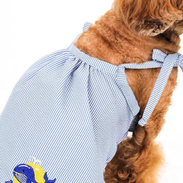 シアサッカー ストライプ ワンピース    ,XXL  犬 服 夏 クール 犬の服 ドッグウェア おしゃれ キャミ 肩紐 調整|best-friends|05