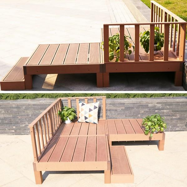 ウッドデッキ 人工木 7点セット 0.75坪 縁台 フェンス ステップ  バハユニー ガーデン DIY best-share 12