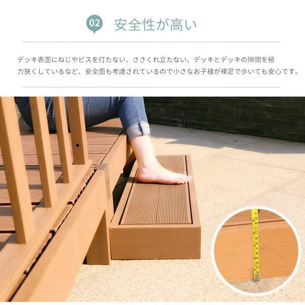 ウッドデッキ 人工木 7点セット 0.75坪 縁台 フェンス ステップ  バハユニー ガーデン DIY best-share 05