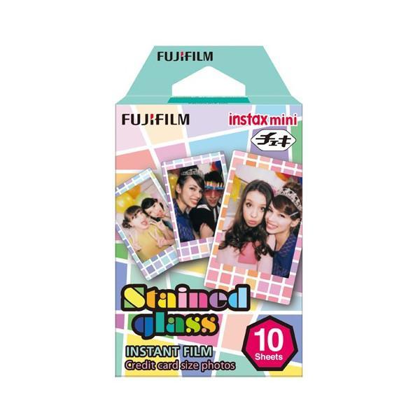 富士フイルム INSTAXMINISTAINEDGLA チェキ インスタントカラーフィルム instax mini 絵柄入りフレーム 「ステンドグラス」 1パック(10枚入)