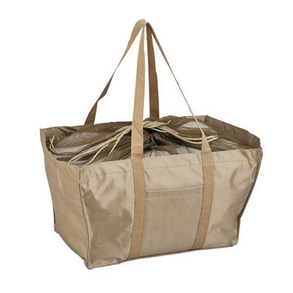 エコマイバッグ/買い物トートバッグ 〔ベージュ〕 レジカゴ対応 ポリエステル製 〔代引不可〕