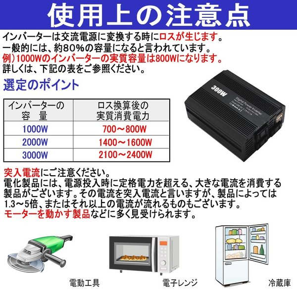 インバーター 12V 24V 300W -600W 周波数 50Hz 60Hz 切替可能 ACDC 発電機 コンセント 車載用 充電器 USB 電源 変換 変圧|bestanswe|09
