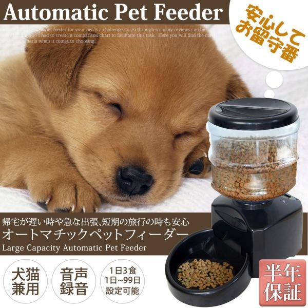 ペットフィーダー オートペットフィーダー 1日3回 自動給餌器 給餌機 音声録音機能 オートマティック 皿 犬 猫 ネコ ドッグフード エサやり ペット用品 送料無料