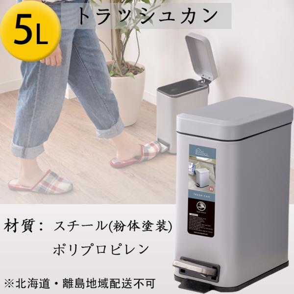 トラッシュカン ゴミ箱 5L ふた付き キッチン ダストボックス 分別ゴミ箱 棚 シンプル おしゃれ 収納 スリム 縦型 四角 新生活 滑止め アソート可 小箱入 一個|bestarone