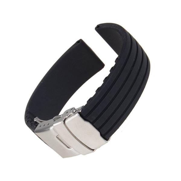 時計バンド 交換ベルトシリコンゴム 腕時計ストラップ 防水 18mm ブラック シリコーン ゴム 腕輪