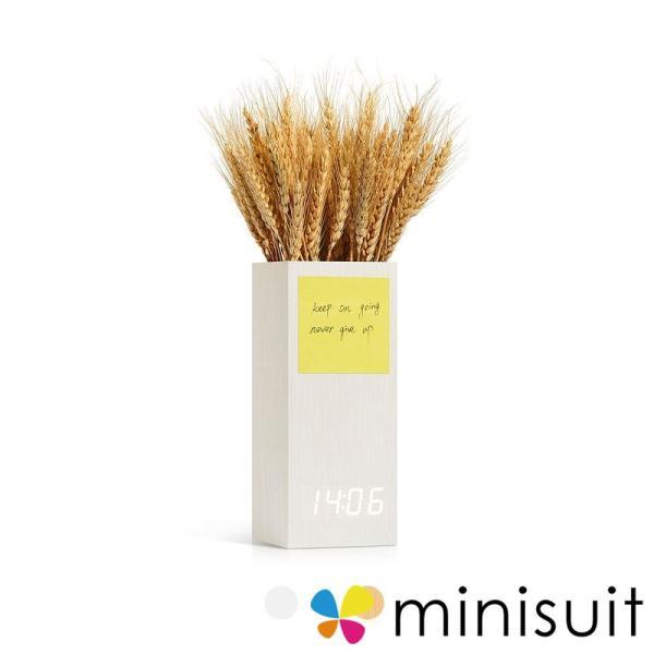 置き時計 デジタル LED 花瓶/収納箱兼用 メモ/写真ディスプレイ USB充電 省エネ 音声感知 温度計 日本語説明書 アラーム 木目調 二色