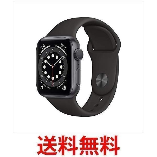 AppleWatchSeries6(GPSモデル)40mmスペースグレイアルミニウムケースとブラックスポーツバンドMG133J/