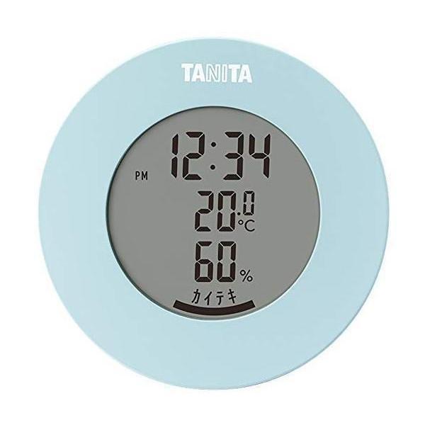 タニタ TT-585 BL ライトブルー 温湿度計 温度 湿度 デジタル 時計付き 卓上 マグネット