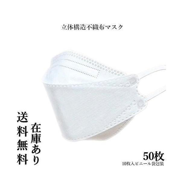 マスク 柳葉型 KF94 50枚 ホワイト おしゃれ 4層構造 ふつうサイズ ノーズピース 立体 ウイルス対策 在庫あり