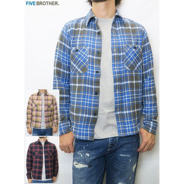 FIVE BROTHER/ファイブブラザー HEAVY FLANNEL WORK SHIRTS 3Color|bethel-by