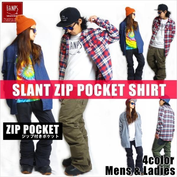 BANPS シャツ 15-16 SLANT POCKET SHIRT スラントポケットシャツ ジップポケット  ウェア スノボ スキー メンズ レディース BANPSSNOWBOARDING|betties-shop