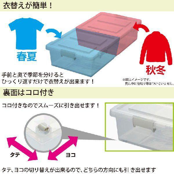 ベッド下 収納ボックス 4個組 クリア  収納ケース 引き出し フタ付き プラスチック おしゃれ キャスター付き  衣替え 大容量 隙間収納 送料無料 beworth-shop 03