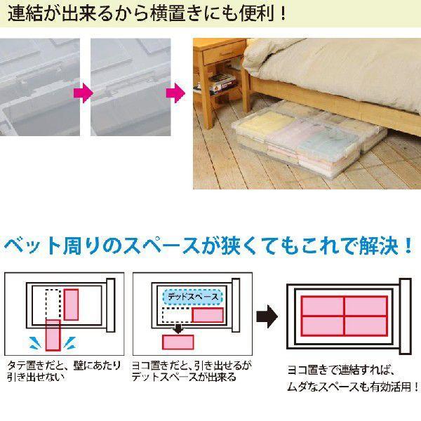 ベッド下 収納ボックス 4個組 クリア  収納ケース 引き出し フタ付き プラスチック おしゃれ キャスター付き  衣替え 大容量 隙間収納 送料無料 beworth-shop 04