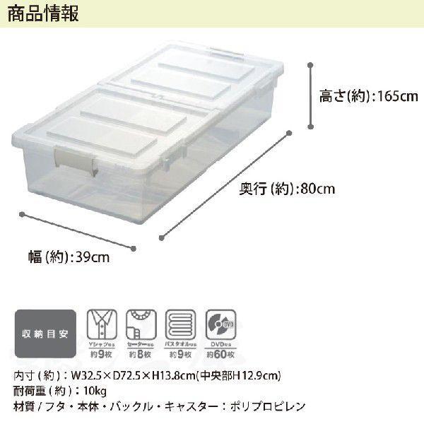 ベッド下 収納ボックス 4個組 クリア  収納ケース 引き出し フタ付き プラスチック おしゃれ キャスター付き  衣替え 大容量 隙間収納 送料無料 beworth-shop 05